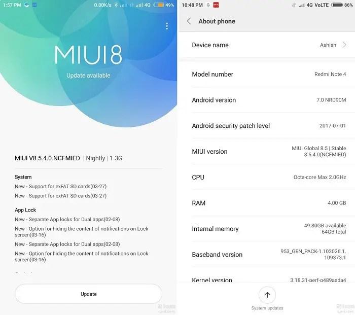 xiaomi-redmi-note-4-android-7-nougat-miui-8-5-4-update-india