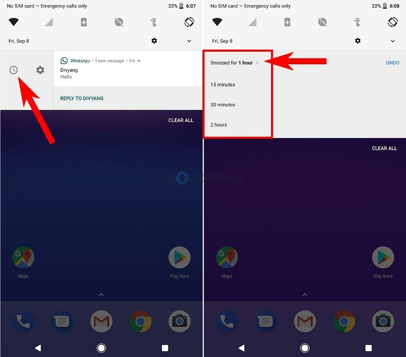 snooze notifications on Android