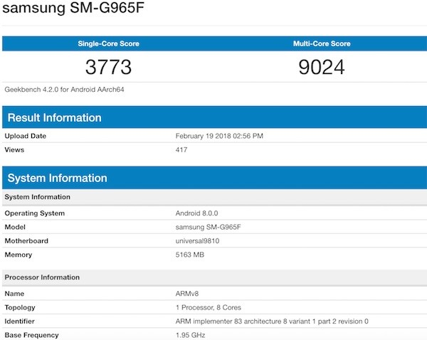 Galaxy S9 Plus posts monster benchmark scores ahead of reveal