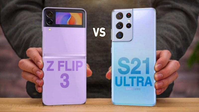 رغم الفارق ، يمكننا المقارنة بين هاتفي Samsung Galaxy S21 Ultra و Samsung Galaxy Z Flip3، أيهما أفضل؟