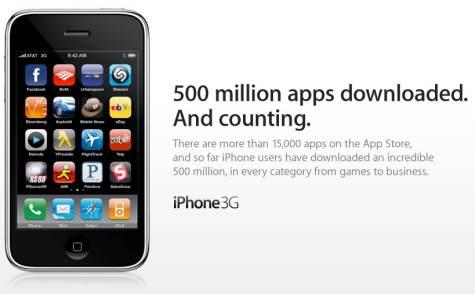 apple app store 500 miljoonaa
