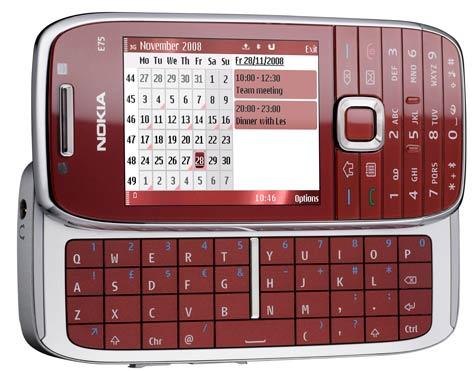 Nokia E75 punainen