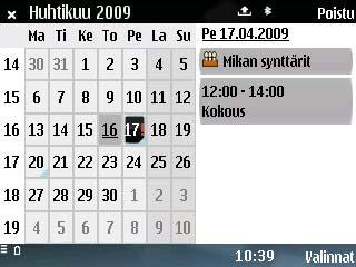 E75 Kalenteri