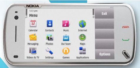 Nokia N97 valikko