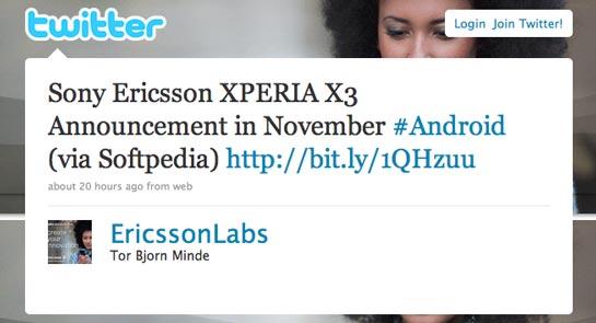 XPERIA X3 tweet