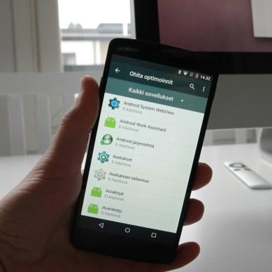 Käyttäjä pystyy ohjaamaan sovelluksien toimintaa virransäästön osalta.