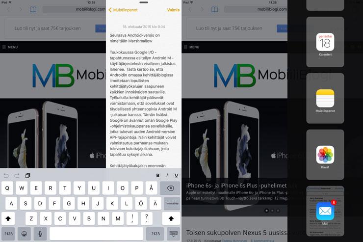 iOS 9, moniajo, kaksi sovellusta