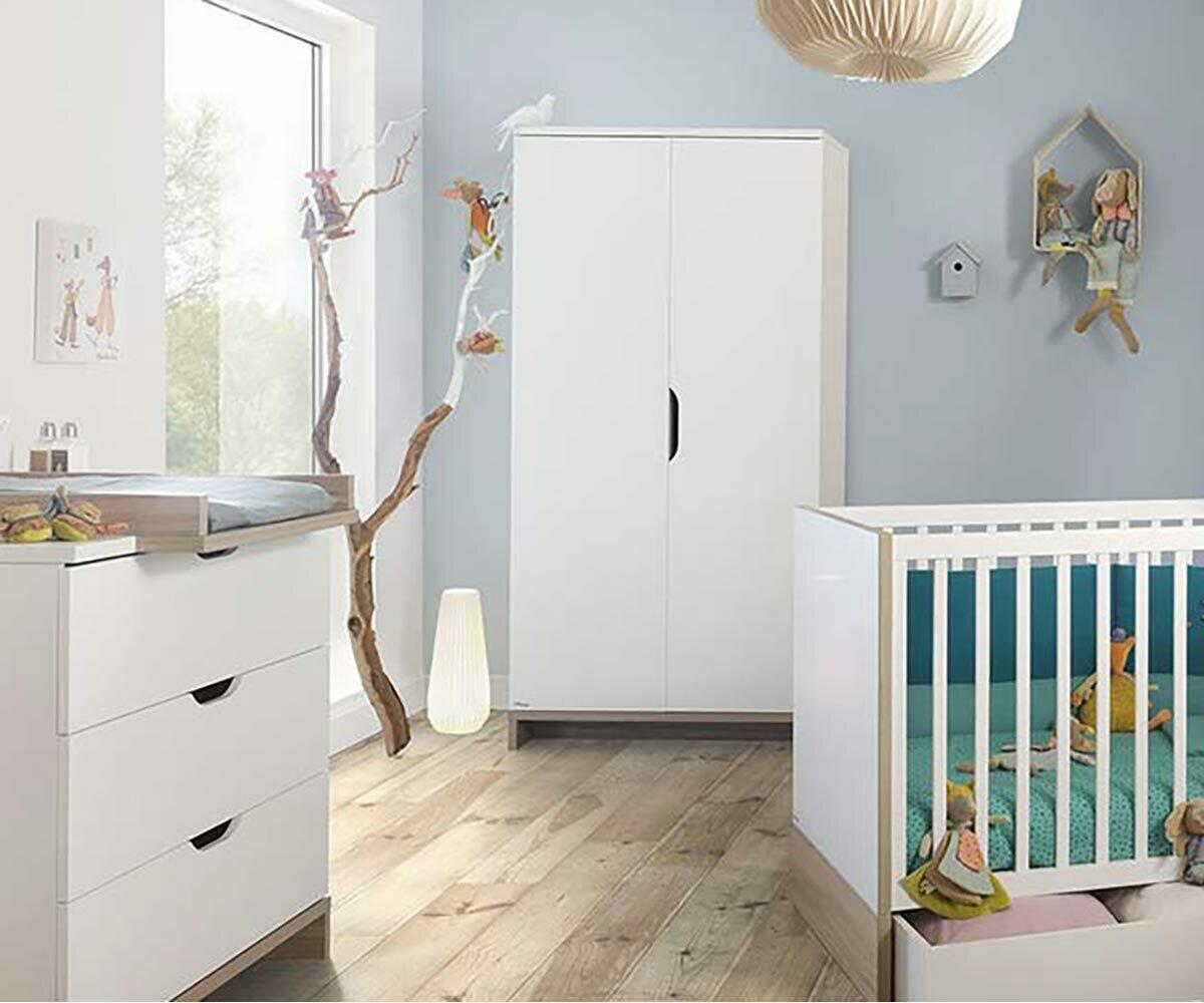 Armario para Beb en blanco y madera PLUMA