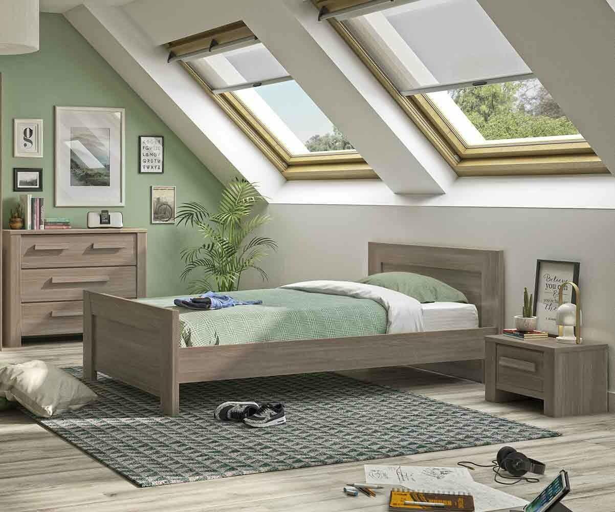 Dormitorio juvenil AUCKLAND de 4 Muebles Roble