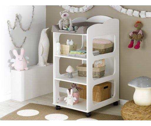 Venta de mueble cambiador con estantes y ruedas Color blanco