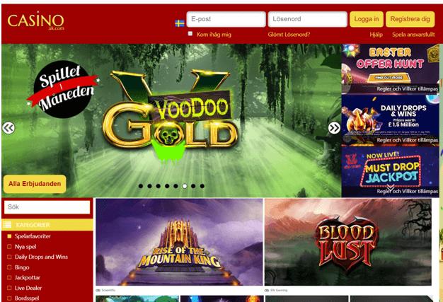 CasinoUK online casino som accepterar svenska spelare