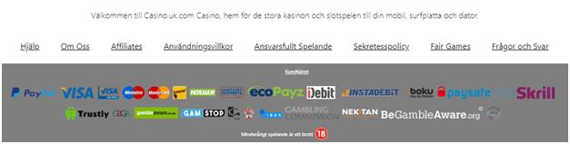 Insättningar och uttag på online casino