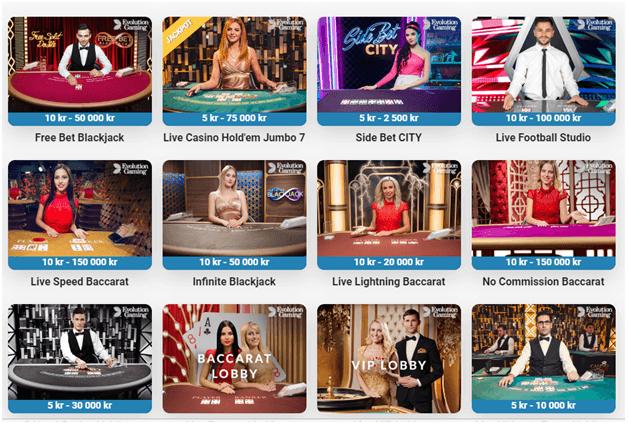 Kortspel som Texas Holdem kan spelas här på live casino