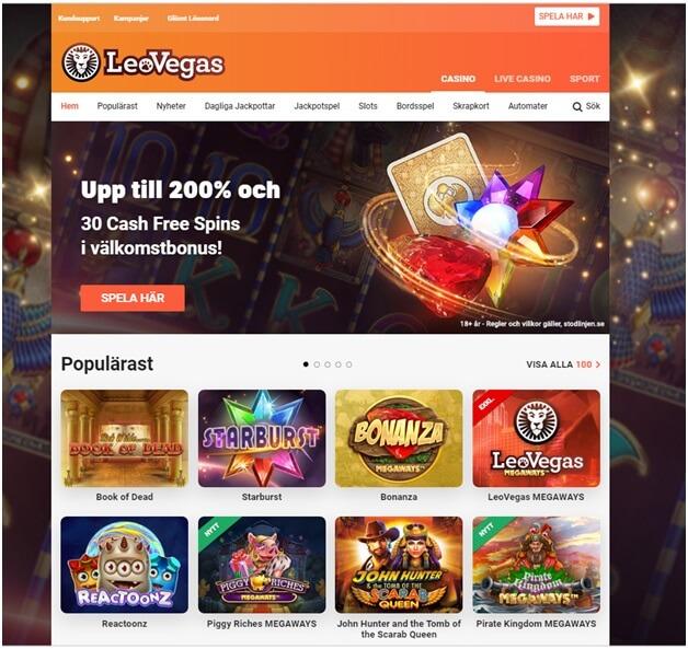 Leo Vegas casino för att spela slots, Live casino och bordspel med Krona
