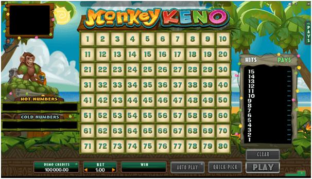 Monkey Keno fungerar som Keno-spelet i ett videoformat