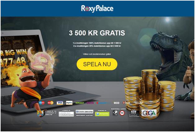 Roxy Palace casino för svenska spelare att spela online slotmaskiner