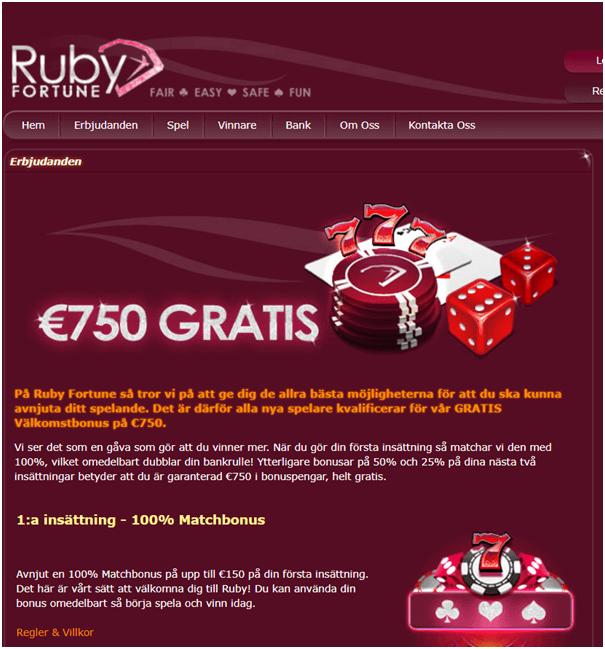 Ruby Fortune välkomstbonus på nätet