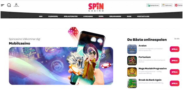 Spin Palace casino mobile se