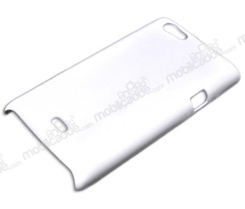 Sony Xperia Miro Beyaz Sert Rubber Kılıf (Stoktan Teslim)