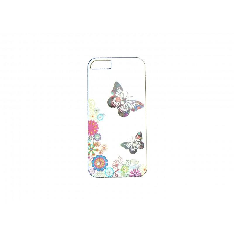 Coque pour Iphone 5 blanche papillons multicolores et