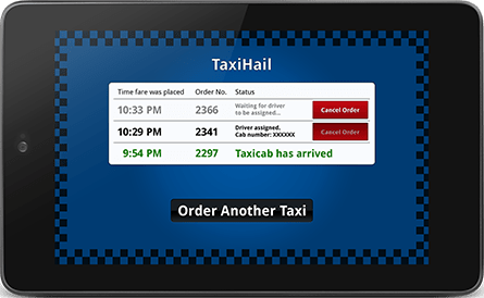 TaxiHail Kiosk Status Screen