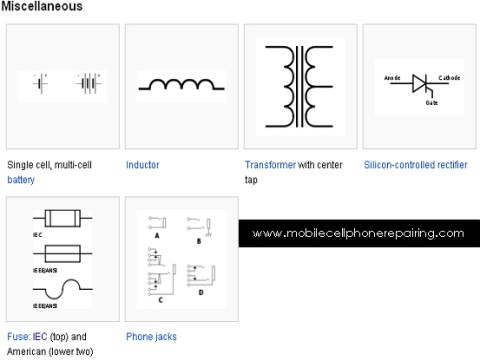 Circuit Symbols - Single cell, multi-cell battery, Inductor, Transformer with center tap, Silicon-controlled rectifier, Fuse, Phone jack