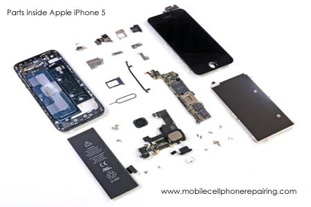 Parts inside Apple iPhone 5 Mobile Phone