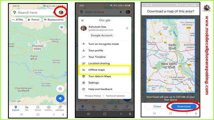 Google Maps offline per telefono cellulare Android
