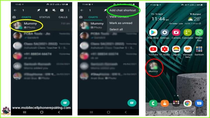 Collegamento della chat di WhatsApp alla schermata principale