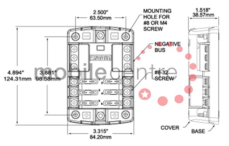 Blue Sea ST 5025 6 way blade fuse distribution block neg