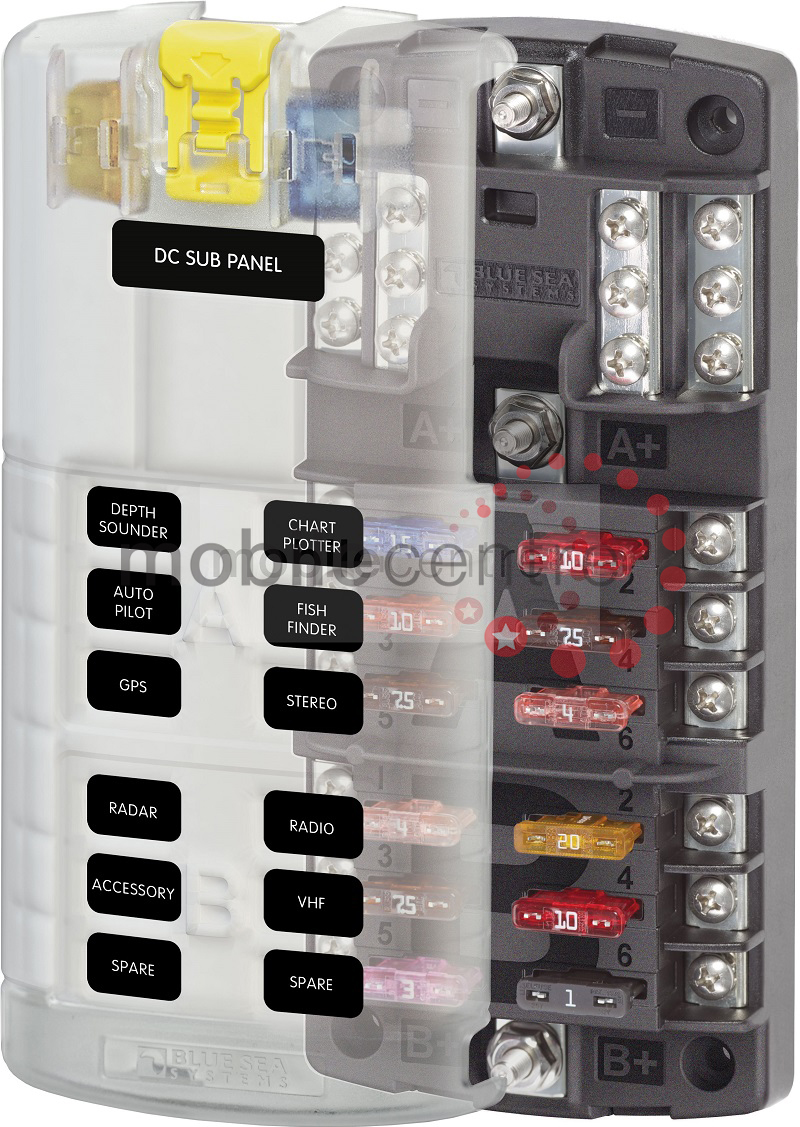 hight resolution of blue sea st 5032 12 way split blade fuse block with neg bus 2 x 6 way mobile centre