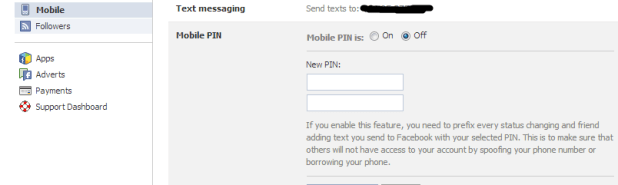 Secure your Facebook account- Mobile Number in Facebook