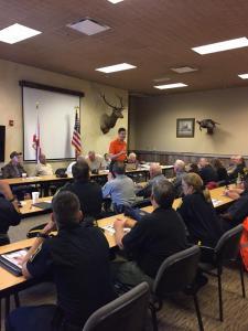 Alabama Secretary of State John Merrill speaking at an Alabama Constables Association meeting.