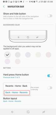 Change Navigation Bar Layout Galaxy S9 S9 Plus