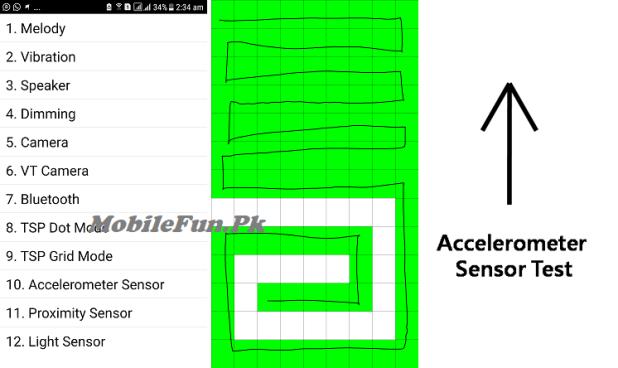 Samsung touch screen test code