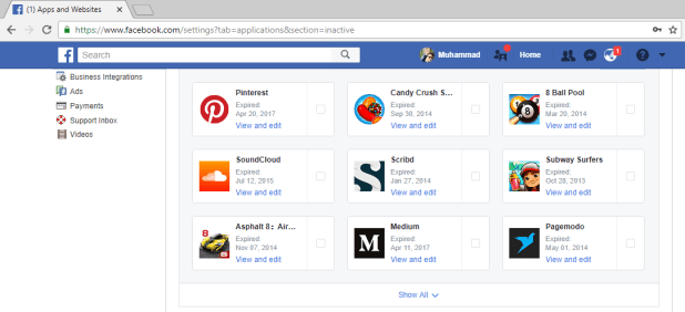 Facebook Authorized Apps Security