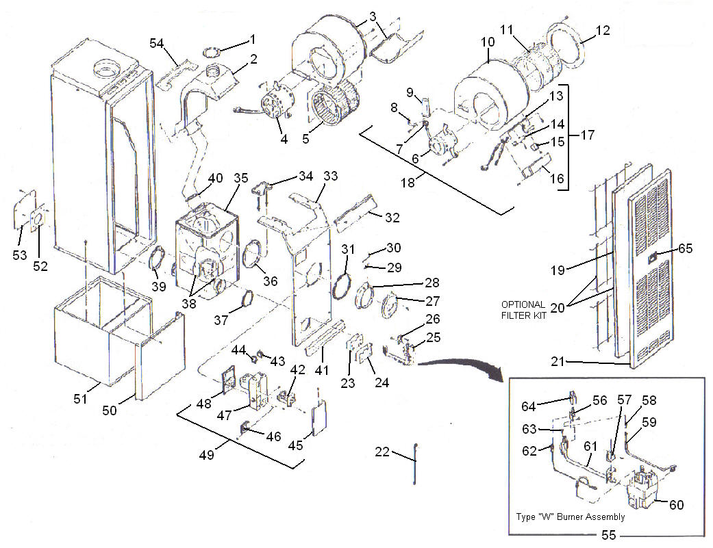 diagram showing parts of furnace