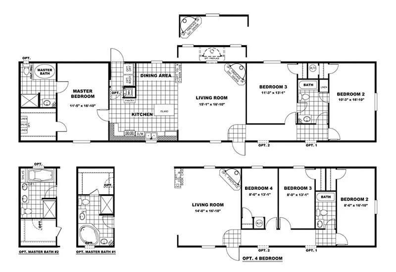 CMH Bigfoot 4 bedroom 2 bathroom Mobile Home For Sale