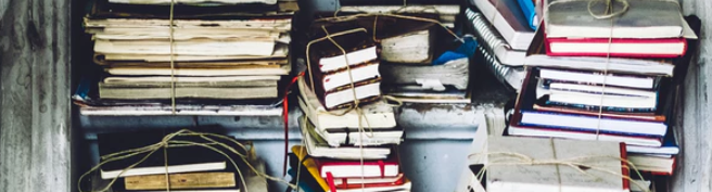 Clutter and stacks of books