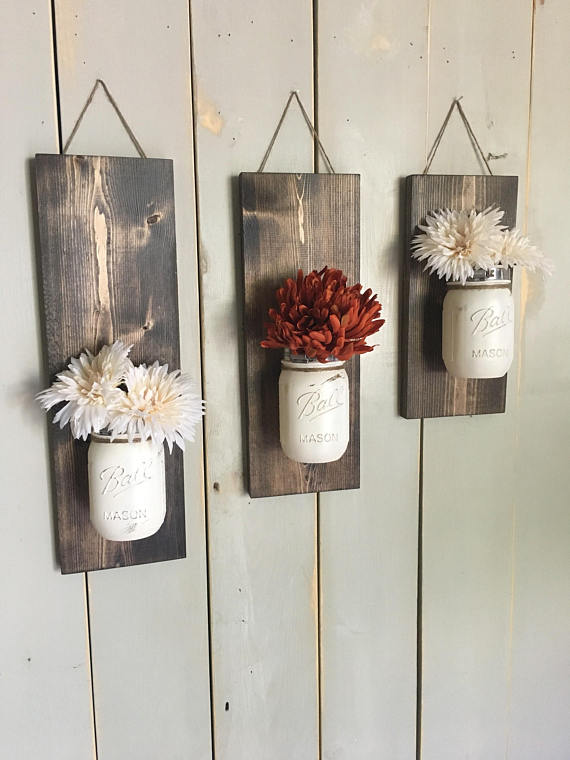 Fall Wall Sconce with mason jars