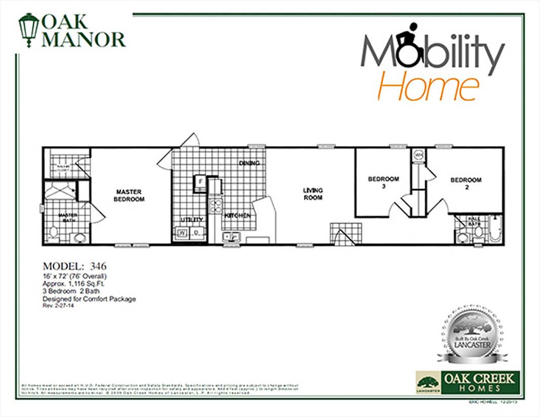 Oak Manor Mobility Home 346 floorplan