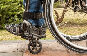 Wheelchair on a cobblestone path