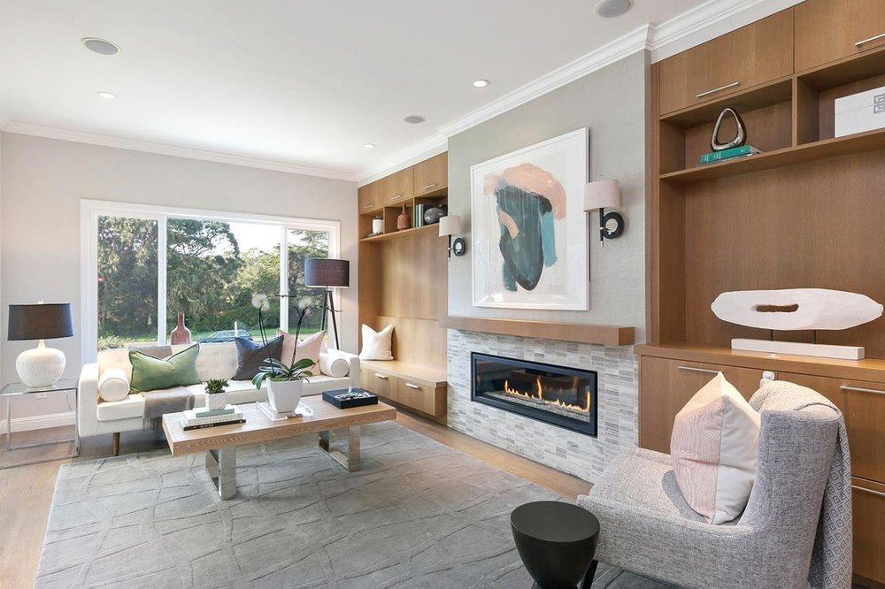 Modern living room with neutral and stone