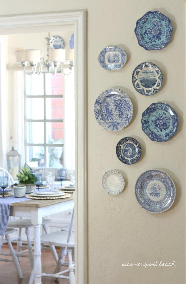 Retro china plates hung as decoration