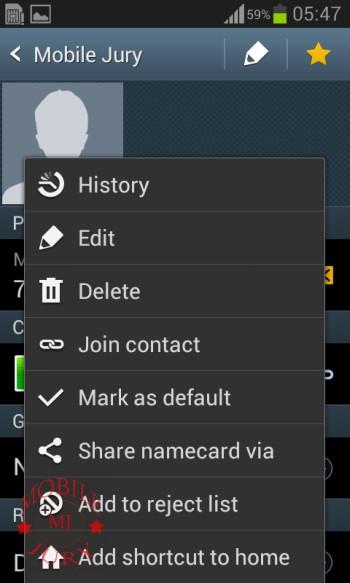 Contact options_Samsung Galaxy Star Pro