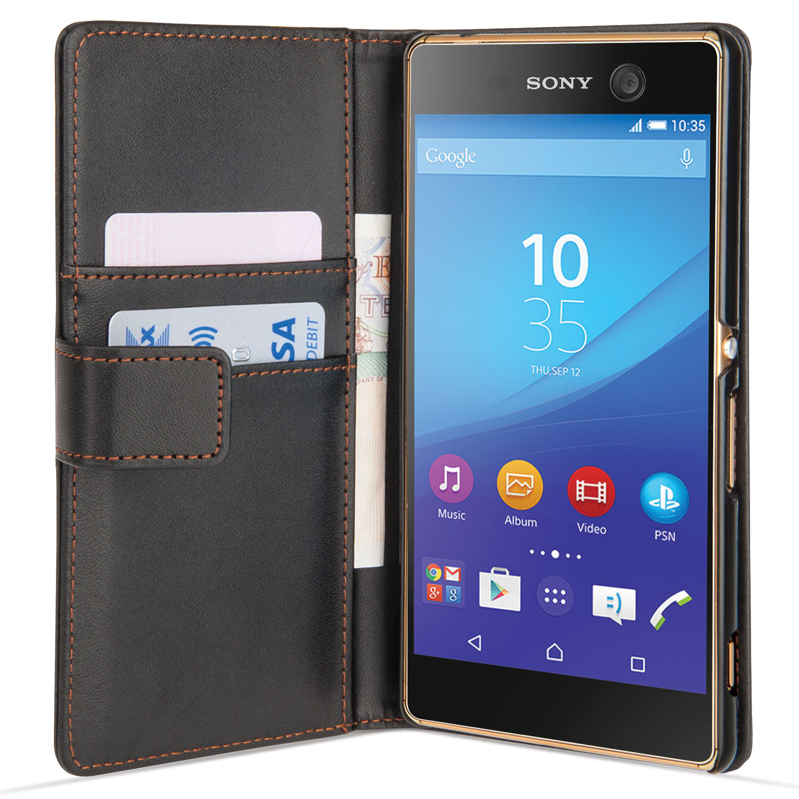 Yousave Accessories Sony Xperia M5 Leather-Effect Walle