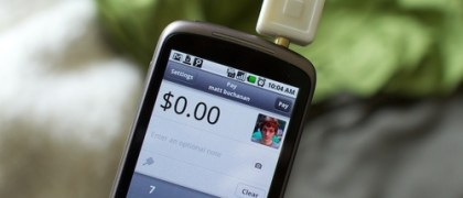 Square Credit Card processing gadget plugs in to the headphone jack