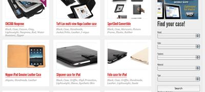 iPad Case Finder website