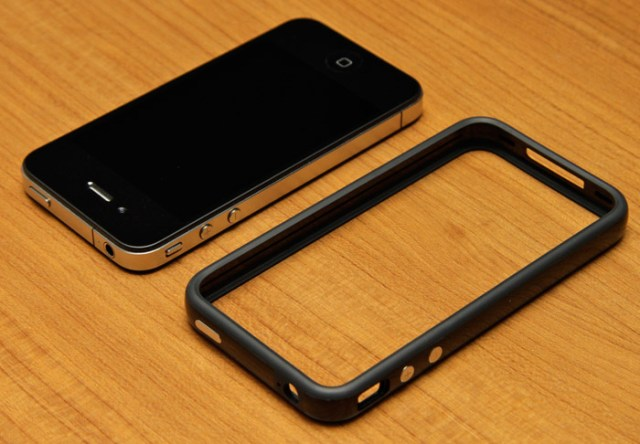 """iPhone 4 with the much needed """"bumper"""" case"""