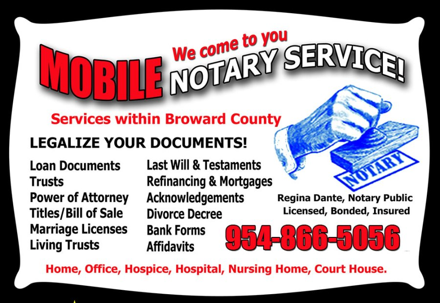mobile notary business card red 1000 - Notary Business Cards